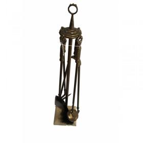 Akcesoria kominkowe 5 elementów kolor stare złoto